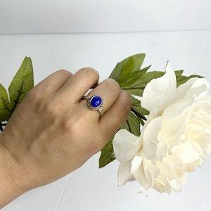 Vintage Oval Lapis Lazuli Silver Ring